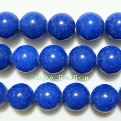 Jad natural, vopsit, sferic, albastru, 10mm, orificiu: 1mm 1 buc