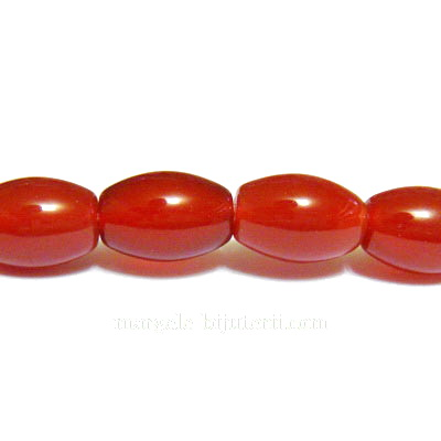 Carneol oval, 12x8mm, orificiu: 1.2 mm 1 buc
