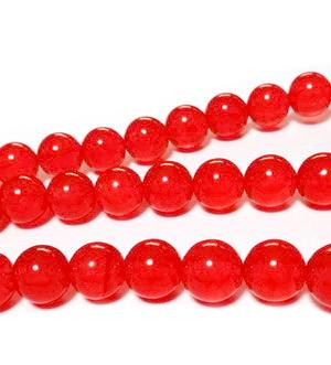 Jad rosu, translucid, sferic, 8mm, orificiu: 1mm 1 buc