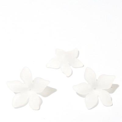 Flori acrilice, frosted, albe, 29x8mm 1 buc