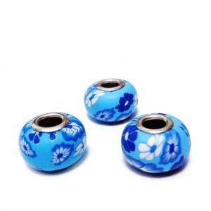 Margele tip Pandora, din fimo, albastre cu flori, 10x16mm 1 buc