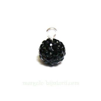 Margele shamballa negre, 8mm, semigaurite 1 buc