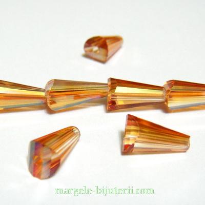Margele sticla, auriu-roscat, multifete, con 12x6mm 1 buc