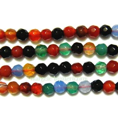 Agat multicolor, multifete, 4.3mm, sir 38cm (aproximativ 93buc) 1 buc
