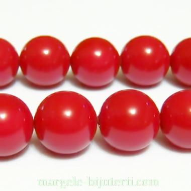 Perle stil Mallorca, rosii, 12 mm 1 buc