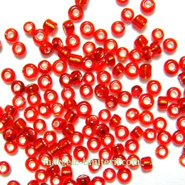 Margele nisip, rosii, cu interior argintiu, 1.5mm 20 g