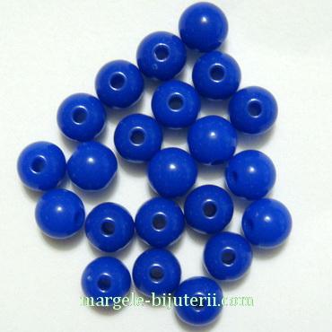Margele plastic, sferice, albastru-cobalt, 6mm 10 buc