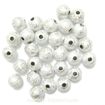 Margele plastic, stardust, argintii, 6mm 10 buc