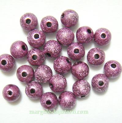 Margele plastic, stardust, violet, 6mm 10 buc