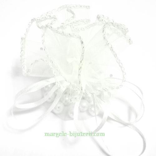 Saculet organza alb cu picatele, diametru 22 cm 1 buc
