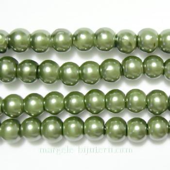 Perle sticla, kaky, 6mm 10 buc