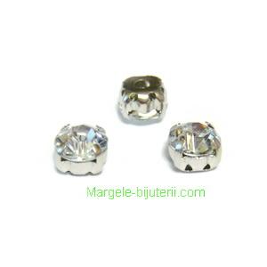 Margele montee rhinestone, plastic, transparent, 5x5x4mm 1 buc