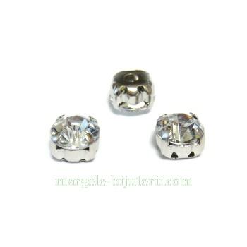 Margele montee rhinestone, plastic, transparent, 6x6x5mm 1 buc