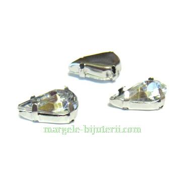 Margele montee rhinestone, plastic, transparente, lacrima 13x8x5mm 1 buc