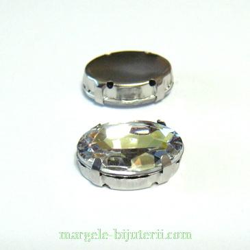 Margele montee rhinestone, plastic, transparent, oval, 18x13x6mm 1 buc