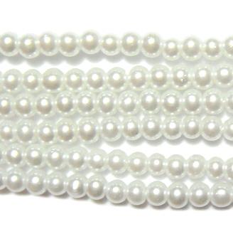 Perle sticla, albe, 3mm- sirag ~220-230 buc 1 buc