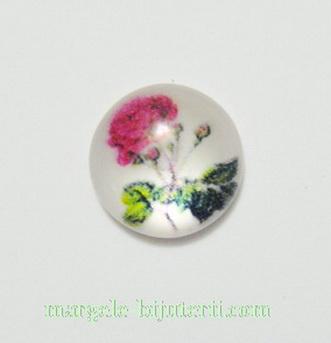 Cabochon din rasina, floare rosie, 12x4mm 1 buc