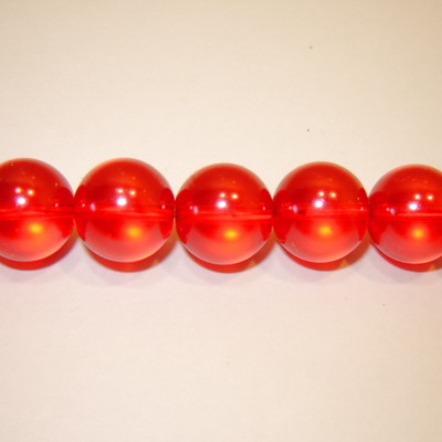 Perle sticla semitransparente rosii 12mm 10 buc
