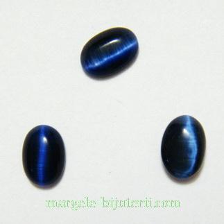 Cabochon ochi de pisica, bleumaren, 7x5x2mm 1 buc