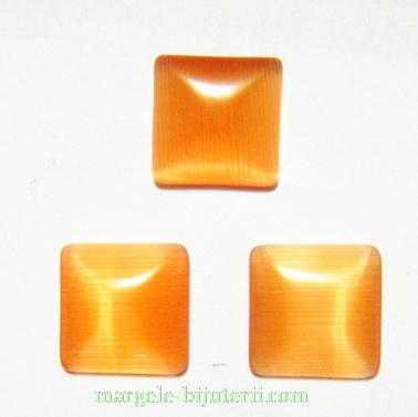 Cabochon ochi de pisica, patrat, portocaliu, 10x10x2.5mm 1 buc