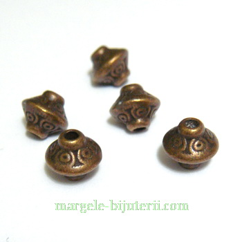 Margele bronz, biconice, 7x7 mm 1 buc