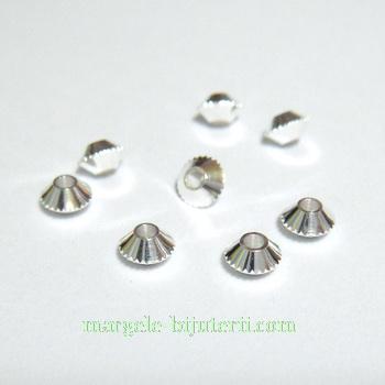 Margele metalice, argintii, biconice, 4x4mm 1 buc