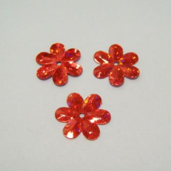 Paiete rosii floricele cu reflexe, 15mm - cca 100 buc 5 g