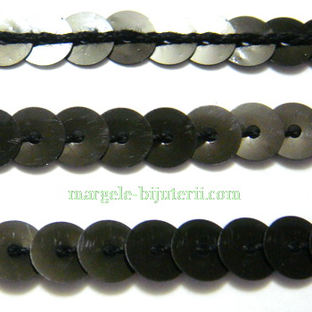 Panglica paiete negre, 6mm 1 m