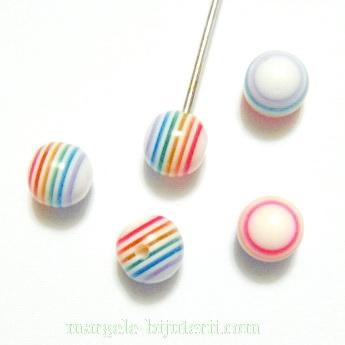 Margele rasina, semigaurite, rotunde, colorate multicolor, 6mm 1 buc