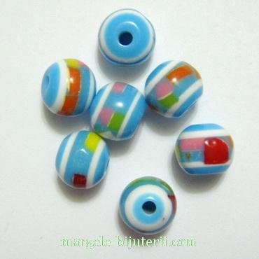 Margele rasina, turcoaz cu insertii multicolore, 8mm 1 buc