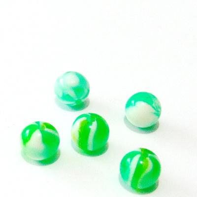 Margele rasina, verzi cu insertii albe, 10mm 1 buc