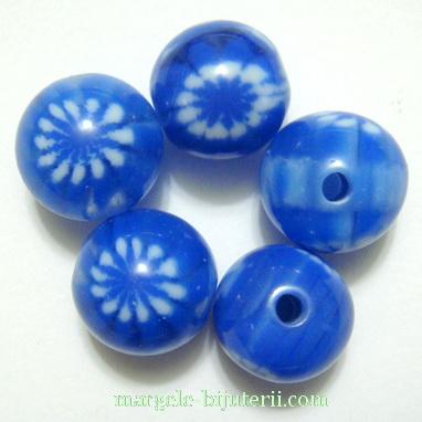 Margele rasina, albastre cu floricele albe, 12mm 1 buc