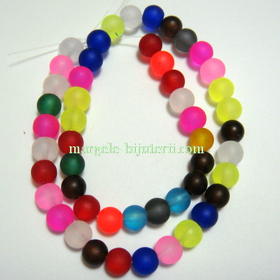 Margele acrilice, frosted, multicolore, 8mm- sirag 49 50 buc