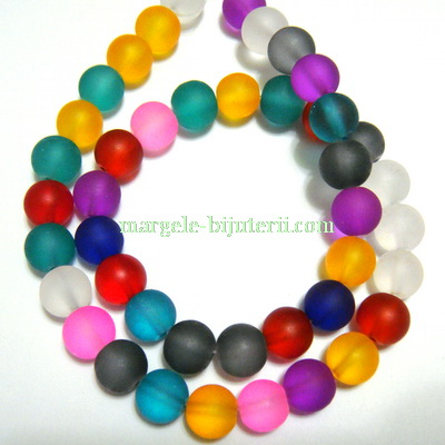 Margele acrilice, frosted, multicolore, 10mm- sirag 42-44 buc 1 buc