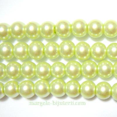 Perle sticla, vernil, 6mm 10 buc