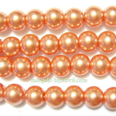 Perle sticla, roz-somon, 8mm 10 buc
