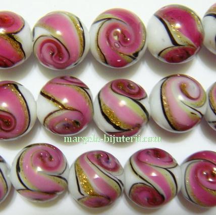 Margele sticla, lampwork, alb-roz inchis-auriu, 12mm 1 buc