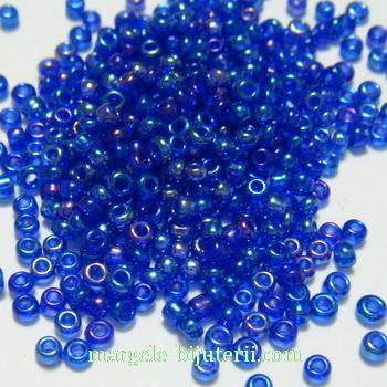 Margele nisip albastru-cobalt, transparente, cu reflexe (AB), 1.5mm 20 g
