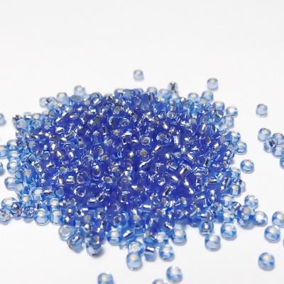 Margele nisip albastru deschis, cu miez argintiu, 1.5mm 20 g