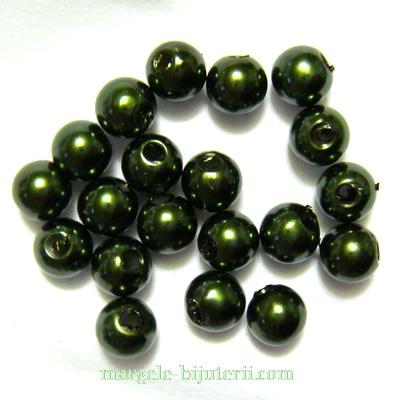 Perle plastic, verde inchis, 6mm 10 buc