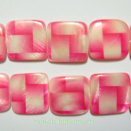 Sidef alb cu roz, patrat, 18x18x4mm 1 buc