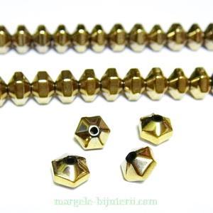 Hematite nemagnetice, hexagonale, placare aurii, 6x4mm 1 buc