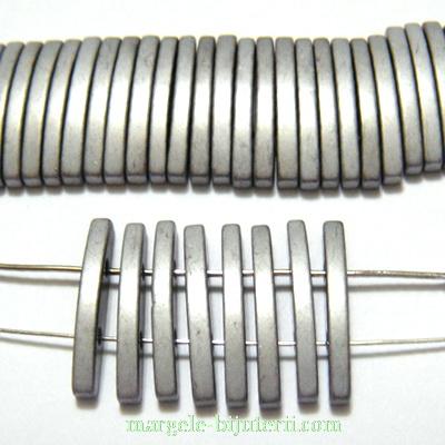 Hematite  placate cu argintiu mat, cu 2 orificii, 19x2.5mm 1 buc