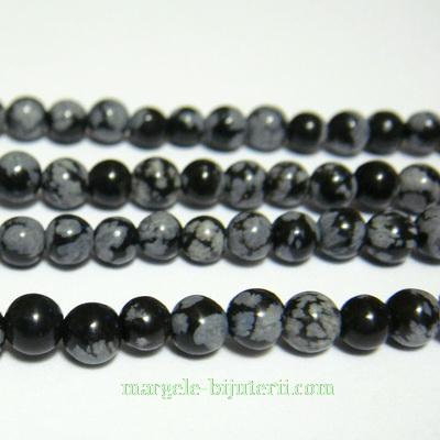 Obsidian fulg de nea, 4mm 1 buc