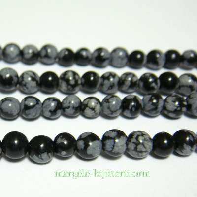 Obsidian fulg de nea, 6mm 1 buc