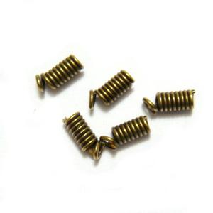 Capete prindere snur piele/ata, bronz, spirala 9x3.5mm, interior: 2mm 10 buc