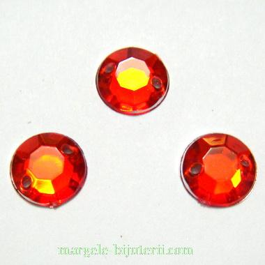 Aplice acrilice pentru cusut, multifete, rosii, 10x4mm 1 buc
