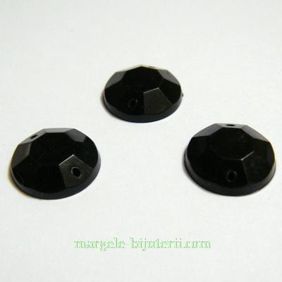 Aplice acrilice pentru cusut, multifete, negre, 14x4mm 1 buc