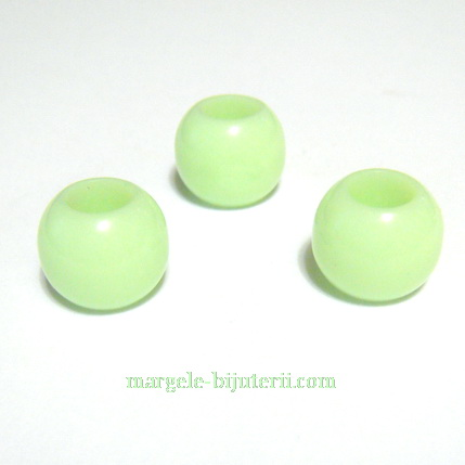 Margele plastic, verde deschis, 12mm, orificiu 6mm 1 buc