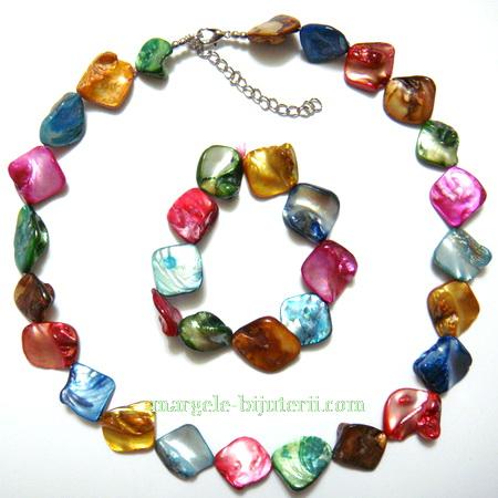 Colier si bratara perle sidef multicolore, 15-18 mm 1 set